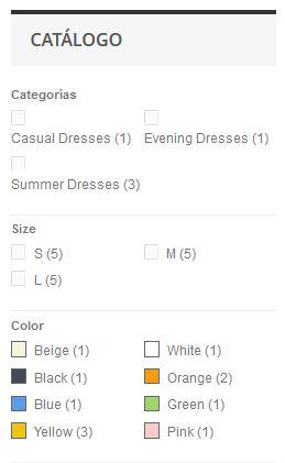 Filtro de productos en las categorías de Prestashop