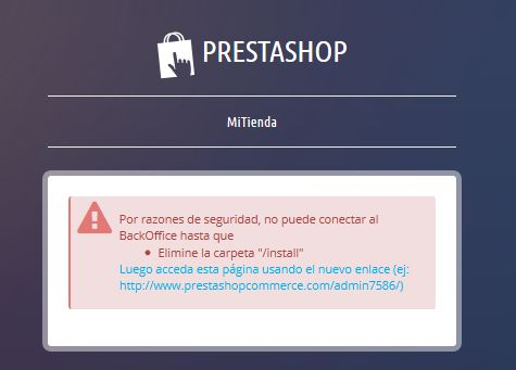 Back-end Prestashop tras instalación